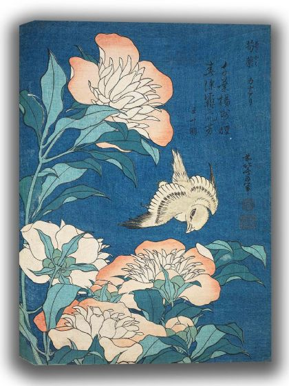 Hokusai, Katsushika: Peonies and Canary. Fine Art Canvas. Sizes: A4/A3/A2/A1 (003942)